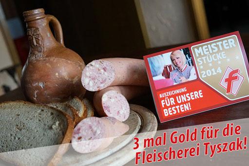 Fleischerei Tyszak holt 3 mal Gold beim deutschen Fleischwurstwettbewerb