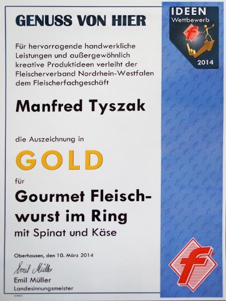 Urkunde-Gold-Fleischerei-Tyszak-Ideen-Wettbewerb